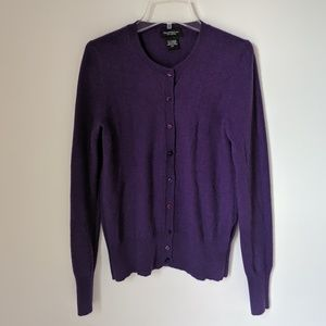 Lord and Taylor Cashmere Purple Cardigan